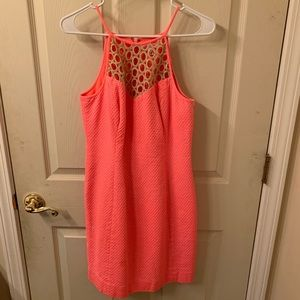 Lilly shift dress size 6 Coral Pink waffle
